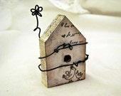 Family   Primitive Folk Art Style Miniature Bird House