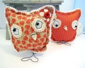 Fall Tangerine Owl, Home Decor, Cottage Chic, Shabby Chic, Nursery,Child's Room Decoration