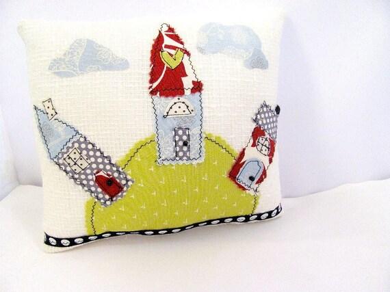 Woodland, Fairy,Three Houses Folk Art Pillow ,Childrens Room, Nursery