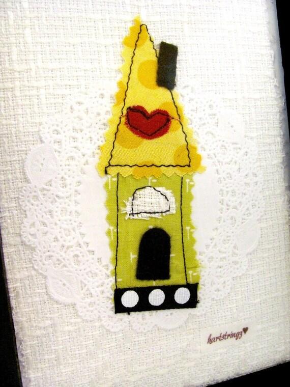 Little Folk Art House, Textile Art in Frame, Home Decor