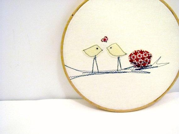 Spring Love Birds, Red Wall Hanging, Hoop Art, Home Decor, Children's Room, Folk Art, Cottage Chic