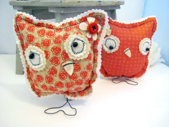 Fall Tangerine Owl Home Decor Cottage Chic Shabby By