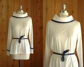vintage 1970s nautical blouse / sailorette top