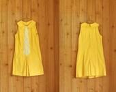 vintage 1960s romper / 60s yellow mod scooter dress / small medium