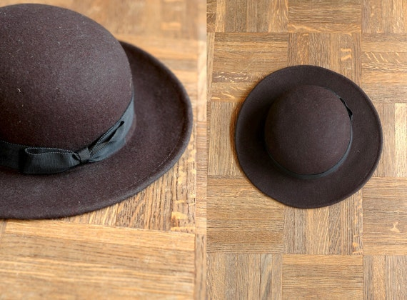 vintage black wool hat with bow
