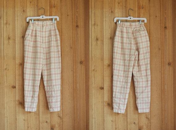 vintage 1980s trousers / pastel pink plaid pants