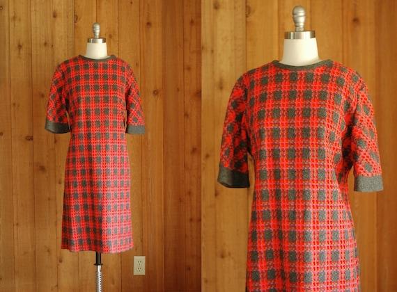 30% OFF Labor Day Sale / vintage 1960s plaid shift dress / large xl