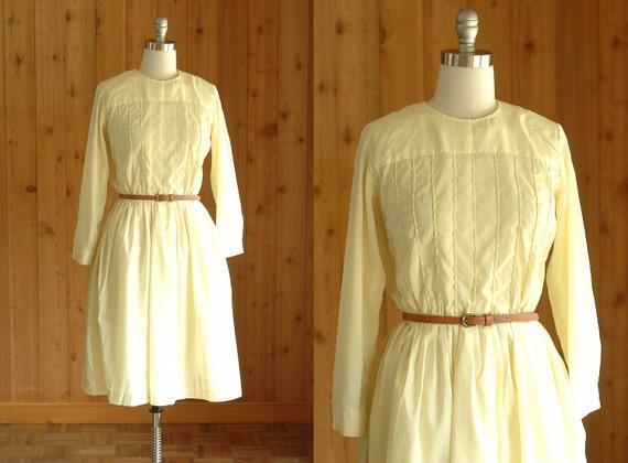 25% OFF SALE / vintage 1950s dress / 50s pale yellow shirtwaist dress / medium