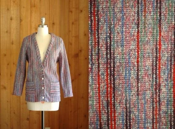 20% off sale / vintage 1970s lavender striped cardigan