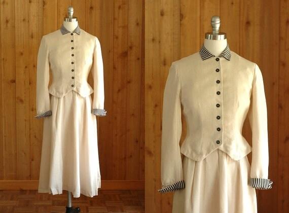 30% OFF Labor Day Sale / vintage 1940s suit / 40s white linen summer suit / small