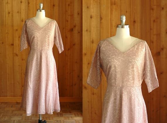 vintage 1950s dress / 50s lace party dress / medium