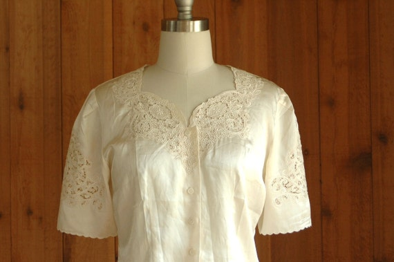 vintage ivory silk and lace blouse