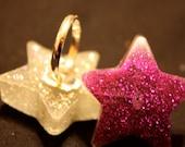 Glitter Resin Star Rings
