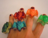 Super Cute and Spooky Adjustable Glitter Resin Bat Rings