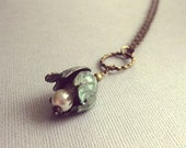 Hanging Aged Patina Tulip & Glass Pearls Necklace, Antique Brass Findings, Vintage