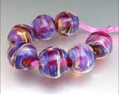 CELESTIA - Handmade Lampwork Round Nugget Bead Set - by Stephanie Gough
