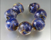 NEBULA - Handmade Lampwork Round Nugget Bead Set - by Stephanie Gough SRA Lampwork Beads