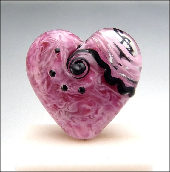 Pink Heart Glass Bead Lampwork Pendant Large Focal Handmade Jewelry Supplies - by Stephanie Gough sra fhfteam leteam