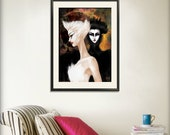Swan Lake Print 8.5x11 Black Swan Ballet Art Illustration