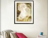 Steampunk Angel Ghostly Clockwork Print 11x14