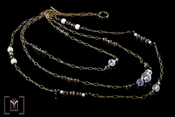 1920's Crystal Necklace Flapper Style with Layers of Gold Chain
