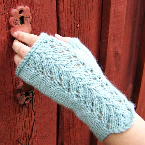 Lace Mittens Knitting Pattern : Fingerless Gloves Knitting PATTERN PDF, Knitted Fingerless ...