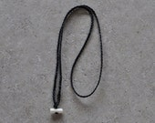 Replacement pendant cord ~Hand plaited black neck band with bone toggle