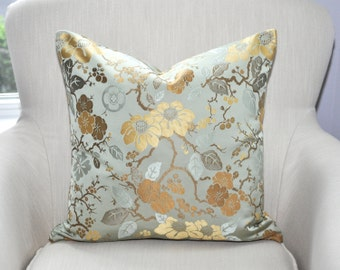 Kravet Couture Silk Chinoiserie Pillow Cover -- 18x18 -- Pattern on Both Sides -- Celadon / Mint Green / Gold -- Zipper Closure