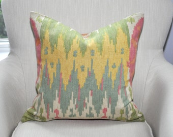 CLEARANCE // Richloom Santana Ikat Suzani Pillow Cover -- 18x18 -- BOTH SIDES -- Pink / Green / Yellow / Blue -- Zipper Closure
