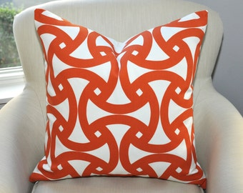 Trina Turk Santorini Pillow Cover -- Indoor / Outdoor / Pool / Patio -- Persimmon Orange / White -- Zipper Closure
