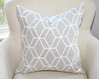 Braemore Diamond Geometric Pillow Covers -- Gray / White -- Zipper Closure