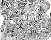 original abstract topographical pen drawing