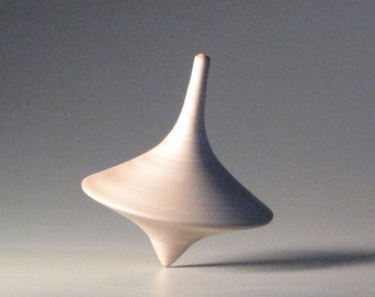 Funnel shaped spinning top - natural wood