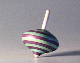 Purple & Turqouise striped spinning top - turnip shaped