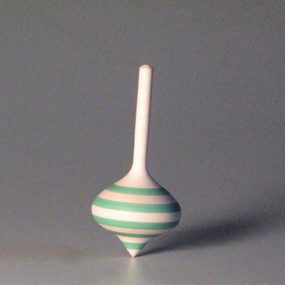 Tiny onion-shaped top with sea-foam blue stripes