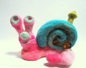 Pink snail felted   / Little miss Cotton Candy  OOAK Fiber art sculpture