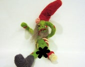 MATURE felted Zombie gnome naked nekked naughty / needle felted green