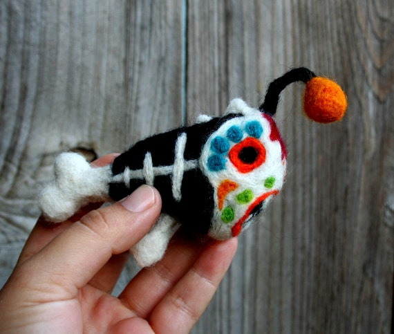 Felted angler fish sugar skull day of the dead by nodsu on for Angler fish pet