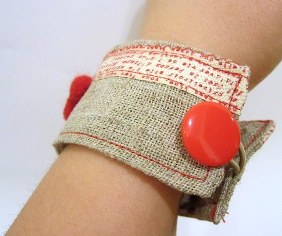 Linen cuff red heart bracelet large mothers love bracelet