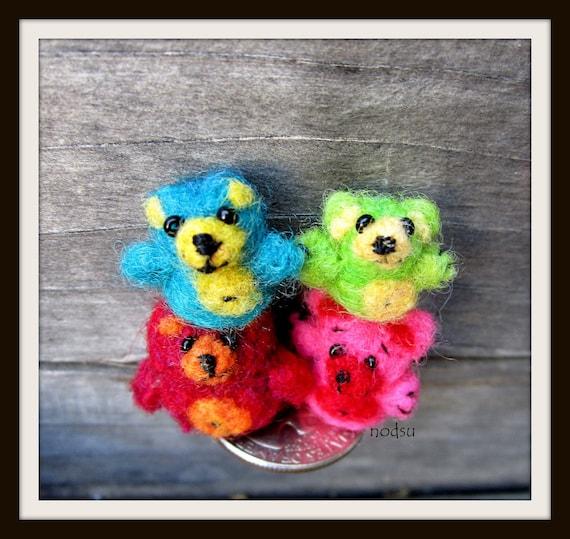 Miniature micro teddy bears needle felted lot of 4