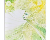 Yellow Green Spring Blossom Lady Fantasy Ceramic Tile OOAk