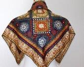 1950s Silk Scarf, French Vintage Scarf, Silk Scarf