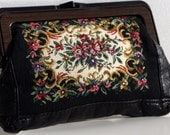SALE - Vintage Tapestry Purse, Black Tapestry Clutch Purse, French Vintage, 70s
