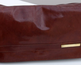 Italian Vintage Leather Bag, Chocolate Brown Leather Shoulder Bag, 80s Leather Bag, Fanny-Bag Italy