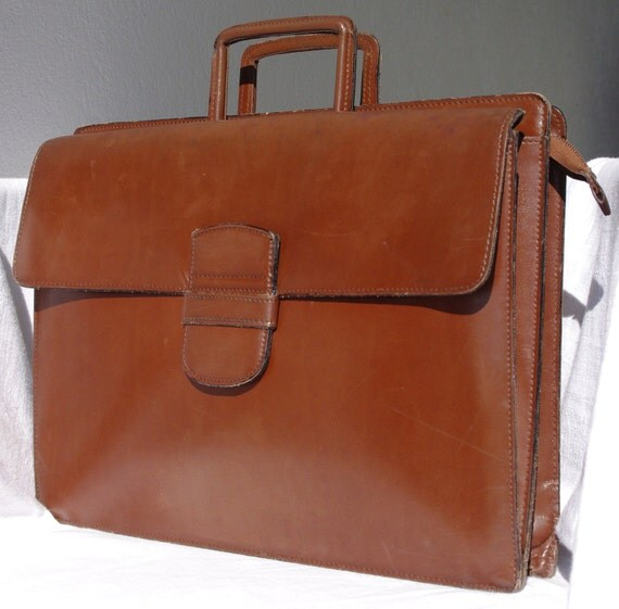 Vintage Leather Briefcase, French Vintage, Chocolate Brown Leather, Jelen Paris