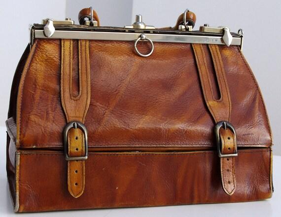 French Vintage Leather Bag, Vintage Doctor's Bag, Caramel Brown Leather Handbag, Brown Leather Purse