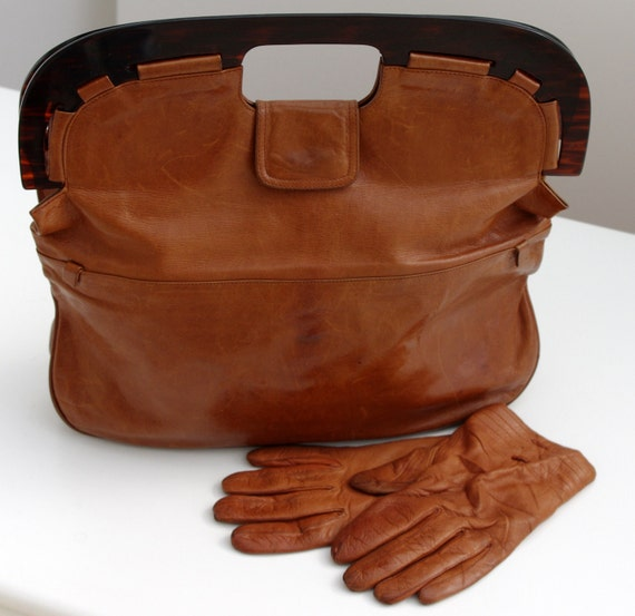 Italian Vintage Leather Bag, Leather Handbag, Brown Clutch Bag, Brown Leather Bag
