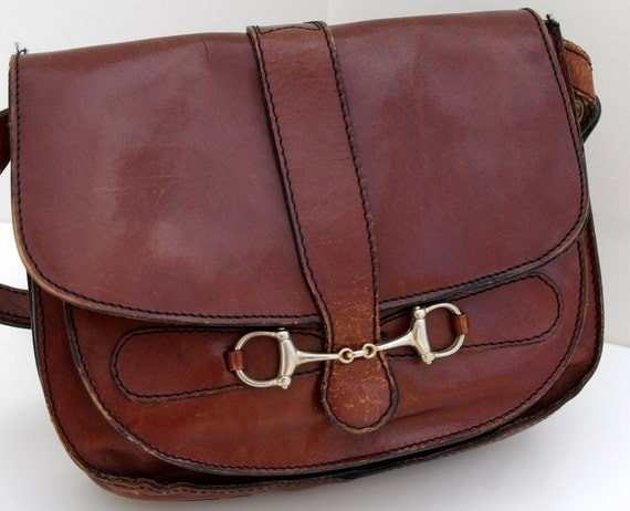 Leather Shoulder Bag, Dark Brown Leather Purse