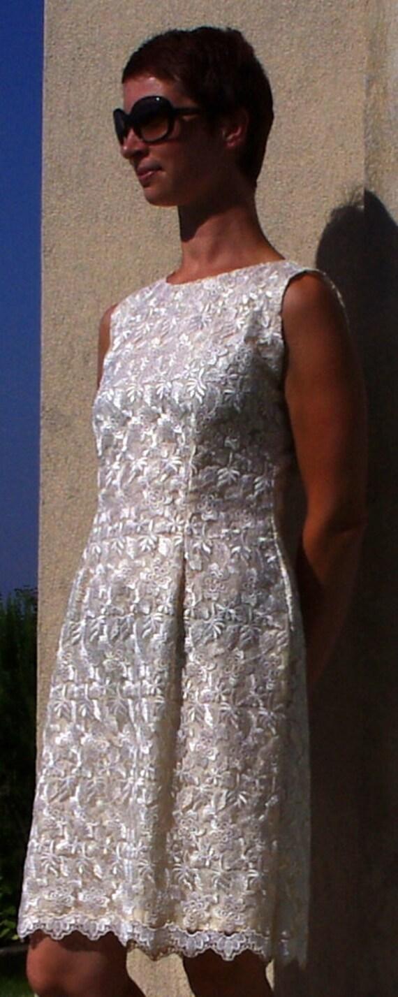 Ivory Lace Dress, Cream Vintage Dress, Shift Dress Lace, French Vintage