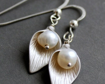Sterling Silver Jewelry Earrings - Calla Lily - Freshwater Pearls- Free U.S Shipping-